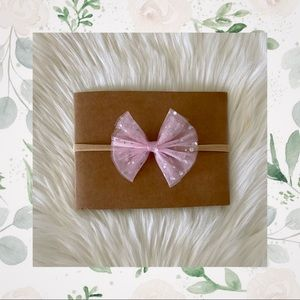 👑Pink Sparkly Tulle Bow On Nylon Or Clip In!